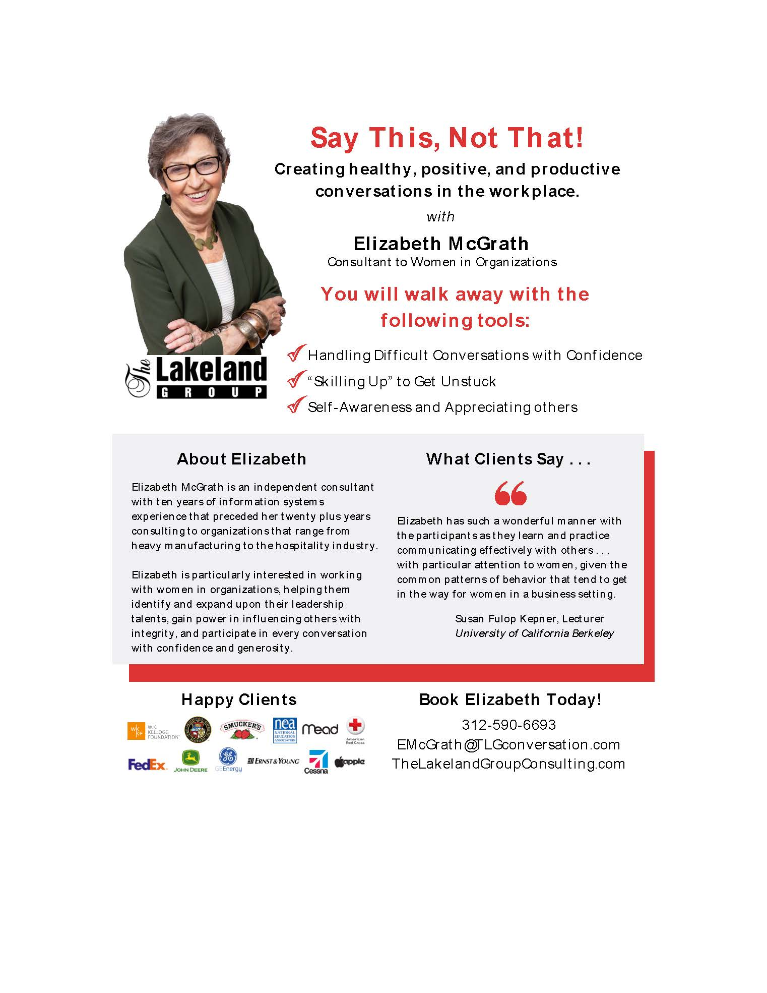 Elizabeth McGrath Speaker One Sheet