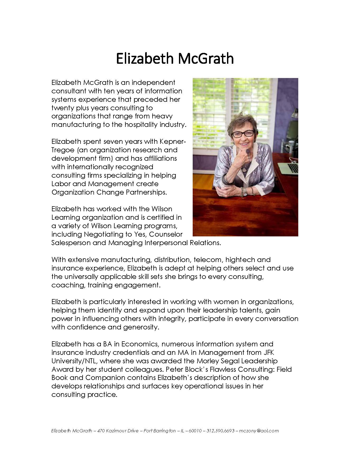 Elizabeth McGrath - Woman Speaker - Biography